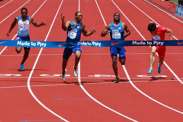 Ronnie Baker wins the 100m at the IAAF Diamond League meeting in Eugene (Victah Sailer)