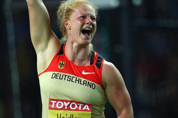 Betty Heidler of Germany celebrates winning the silver medal in the women's Hammer Throw with a National Record in the Berlin Olympic Stadium (Getty Images)