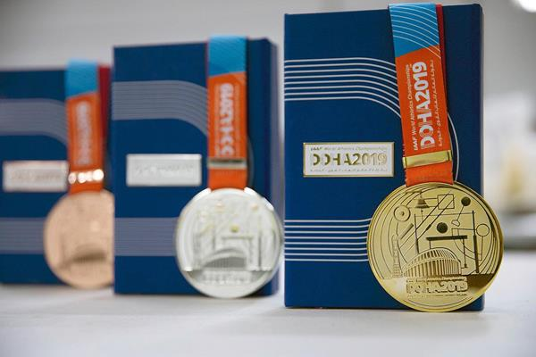 The medals for the IAAF World Athletics Championships Doha 2019 (LOC)