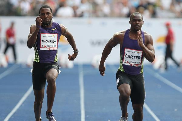 Richard Thompson and Nesta Carter in action in the 100m (Getty Images)