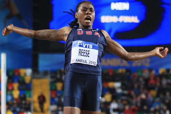 Brittney Reese in the long jump at the IAAF World Indoor Championships (Getty Images)