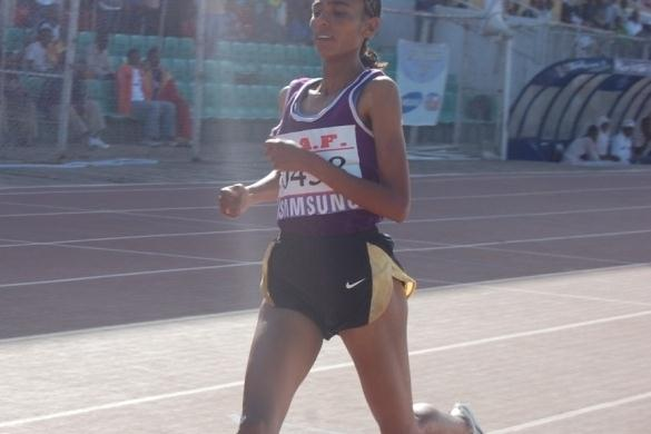 Zemzem Ahmed wins the women's 3000m SC at the Ethiopian Championships (Elshadai Negash)