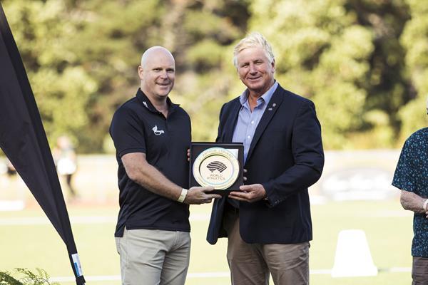 World Athletics Heritage Plaque ceremony, Auckland, New Zealand, Sunday 23 Feb 2020: Cameron Taylor & Geoff Gardner with the Arthur Lydiard plaque (Alisha Lovrich Photography)