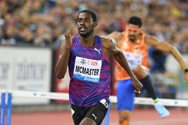 Kyron McMaster on his way to winning the 400m hurdles at the IAAF Diamond League final in Zurich (Gladys Chai von der Laage)