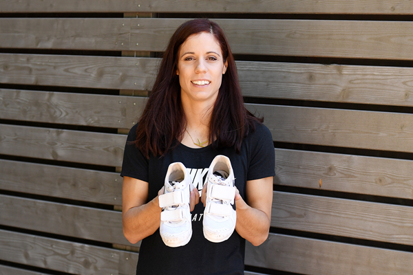 Katerina Stefanidi with the spikes she wore when winning the 2017 world pole vault title (Gladys Chai von der Laage)