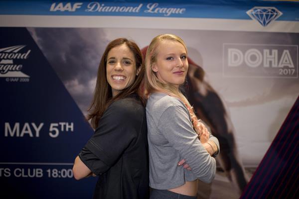 Katerina Stefanidi and Sandi Morris in Doha (Jiro Mochizuki/Hasse Sjogren)