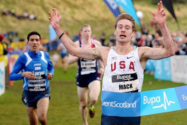 Bobby Mack wins the men's team 8km race at the Bupa Edinburgh Cross Country (Mark Shearman)