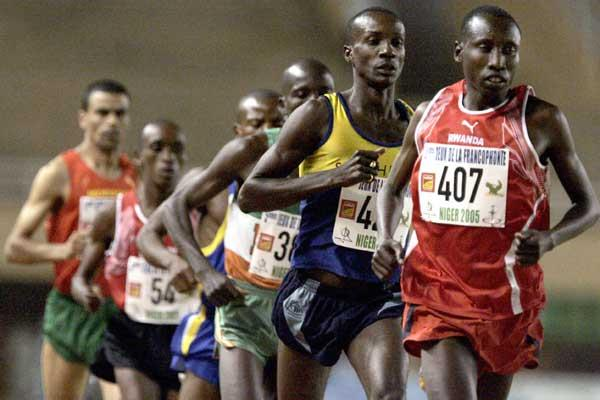 Bronze for Dieudonné Dissi of Rwanda in 5000m - seen here leading the 10,000m earlier this week - Francophone Games, Niger (AFP/Getty Images)