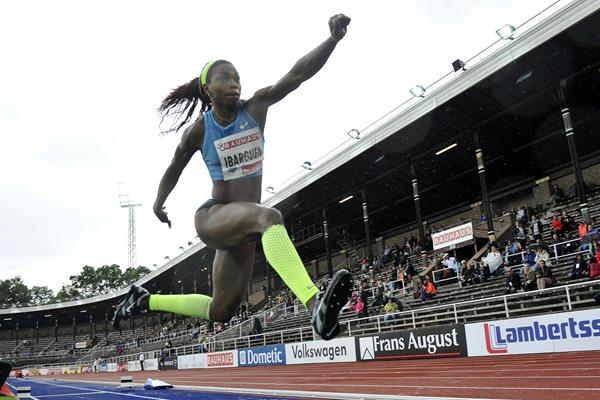 Caterine Ibarguen at the 2015 IAAF Diamond League meeting in Stockholm (Deca Text&Bild)
