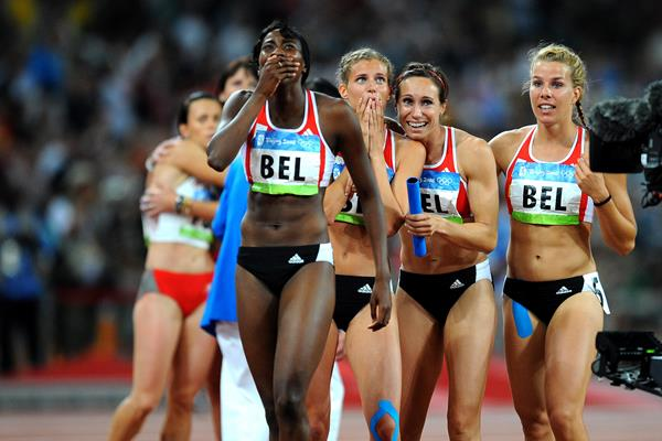 Belgium's 4x100m quartet at the 2008 Olympics in Beijing: Elodie Ouedraogo, Olivia Borlee, Kim Gevaert and Hanna Marien (Getty Images)