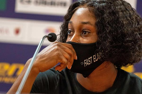 Elaine Thompson-Herah at the pre-meet press conference in Rome (Chris Cooper)