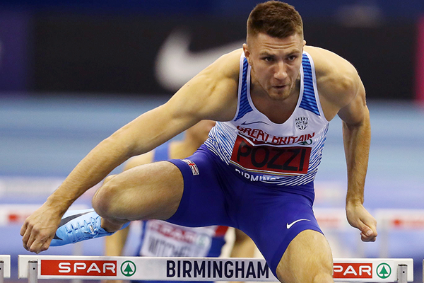 Andrew Pozzi in the 60m hurdles at the British Indoor Championships in Birmingham (Getty Images)