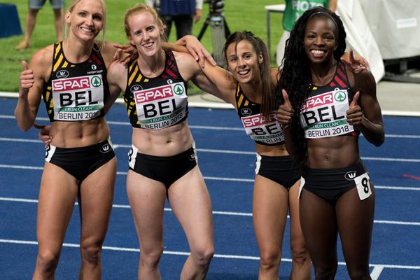 Cynthia Bolingo (r) with the Belgian 4x400m relay squad at the 2018 European Championships (Getty Images)