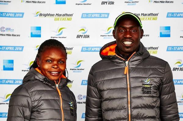 Defending champions Peninah Wanjiru and Duncan Maiyo at the pre-race press conference for the 2016 Brighton Marathon (Organisers)
