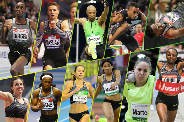 The 11 individual winners of the 2017 IAAF World Indoor Tour (Getty Images / Jiro Mochizuki / Gladys Chai von der Laage / Jean-Pierre Durand / Victah Sailer)