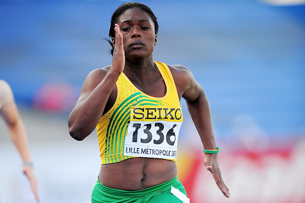 Christania Williams in the 100m at the 2011 IAAF World Youth Championships (Getty Images)