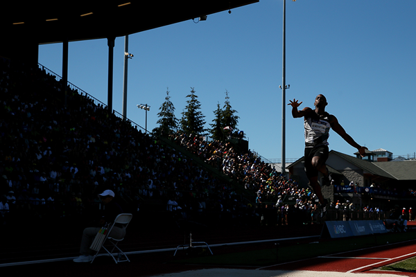 Jeffery Henderson in action in the long jump at the US Olympic Trials (Getty Images)