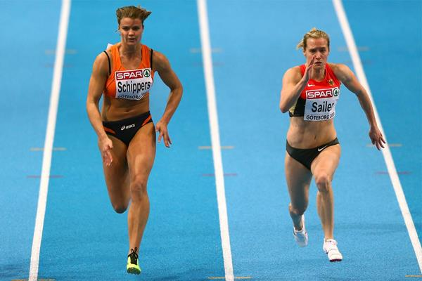 Dafne Schippers and Verena Sailer in action in the 60m (Getty Images)