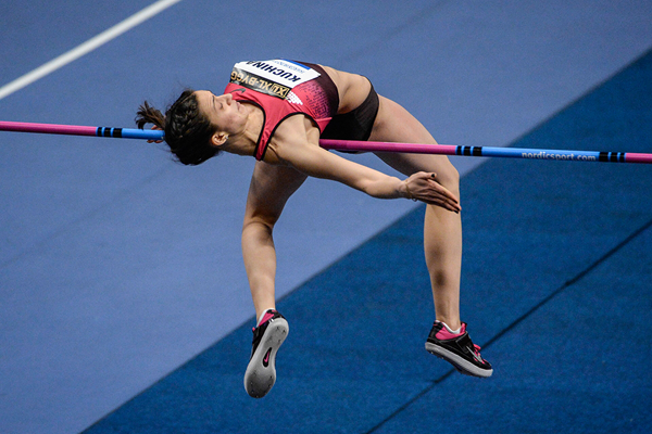 Maria Kuchina in action in the high jump in Stockholm (AFP / Getty Images)
