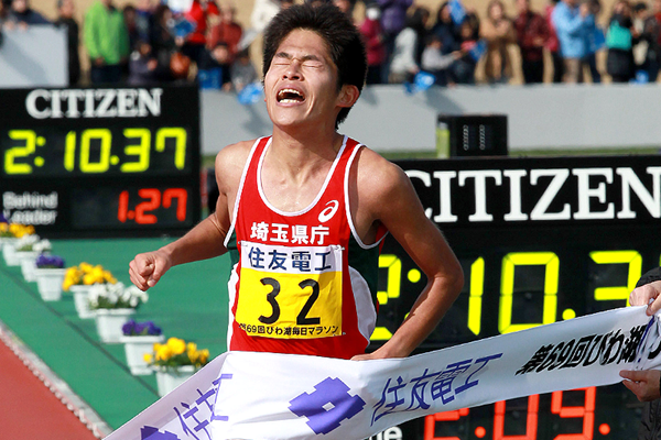 Japan's Yuki Kawauchi at the 2012 Lake Biwa Marathon (Victah Sailer)