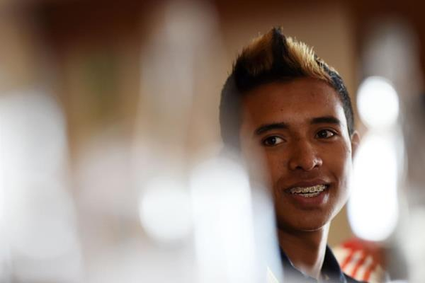 Carlos Santiago Hernandez at the pre-event press conference for the IAAF World Youth Championships, Cali 2015 (Getty Images)
