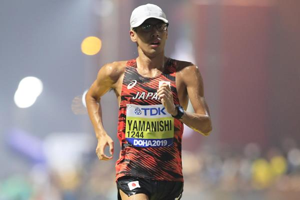 Toshikazu Yamanishi in the 20km race walk at the IAAF World Athletics Championships Doha 2019 (Getty Images)