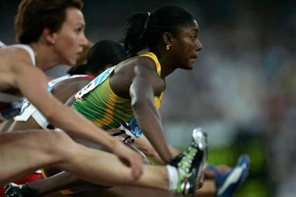 Lacena Golding-Clarke in the 100m Hurdles heats (Getty Images)