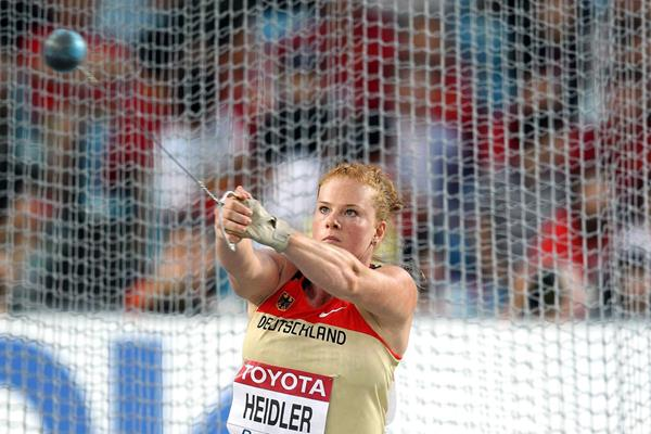 Betty Heidler of Germany going for second place in the women's hammer throw final  (Getty Images)