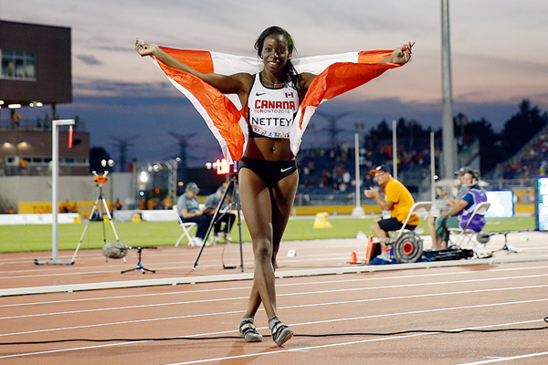 Christabel Nettey after winning the long jump at the Pan-American Games (Getty Images)
