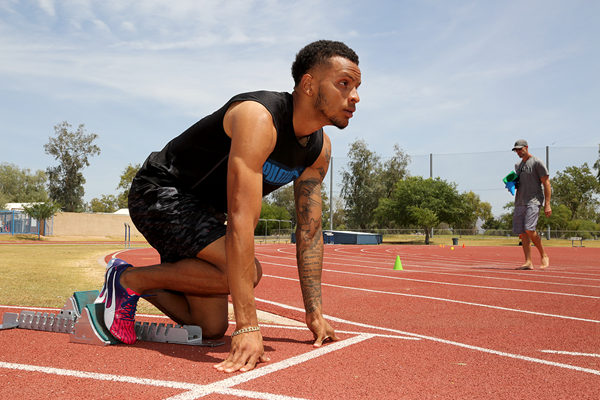 Canadian sprinter Andre De Grasse in training in Phoenix, Arizona (Jean-Pierre Durand)