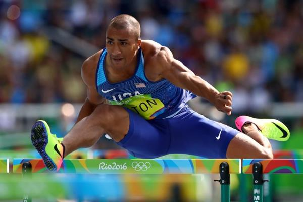Ashton Eaton in the decathlon 110m hurdles at the Rio 2016 Olympic Games (Getty Images)