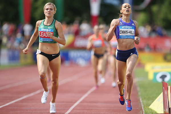 Jessica Ennis-Hill and Brianne Theisen-Eaton in the heptathlon 800m in Gotzis (Getty Images)