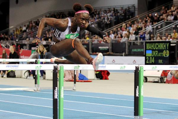 Tobi Amusan on her way to winning the 60m hurdles at the World Athletics Indoor Tour meeting in Karlsruhe (Jean-Pierre Durand)