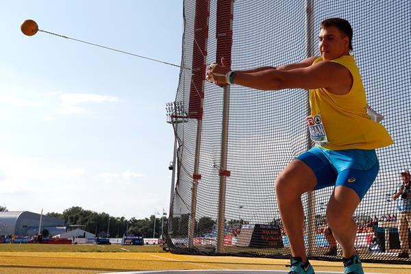 Myhaylo Kokhan in the hammer at the European U18 Championships (Getty Images)