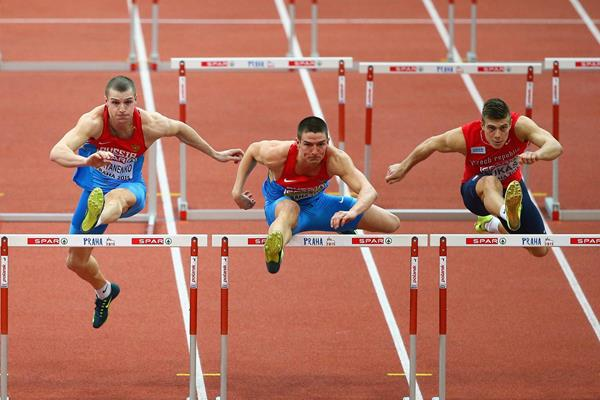 Ilya Shkurenev in the heptathlon 60m hurdles at the European Indoor Championships (Getty Images)