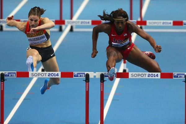 Nia Ali in the 60m hurdles at the 2014 IAAF World Indoor Championships in Sopot (Getty Images)
