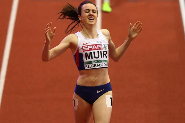 Laura Muir winning the 1500m title at the European Indoor Championships in Belgrade (Getty Images)