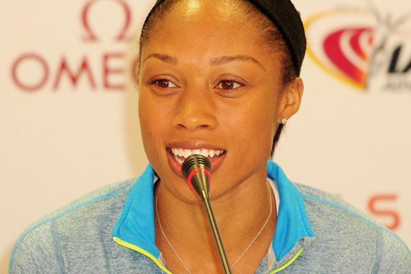 Allyson Felix speaks to the press in Doha ahead of the Diamond League (Errol Anderson)