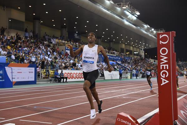 Caster Semenya goes sub-four in the 1500m at the IAAF Diamond League meeting in Doha (Hasse Sjogren)