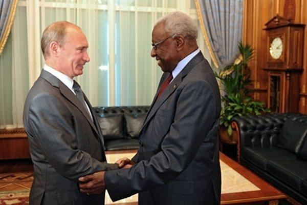 IAAF President Lamine Diack meets with Russian Prime Minister Vladimir Putin in Moscow (All Russia Athletics Federation)