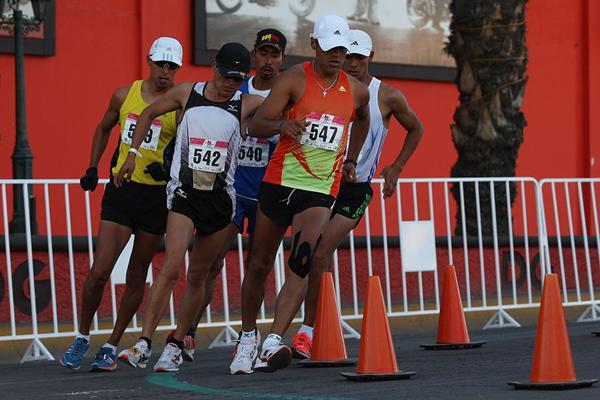 The chasing pack lead by Omar Zepeda (547) during the men's 50km at the IAAF Race Walking Challenge in Chihuahua, Mexico (organisers)