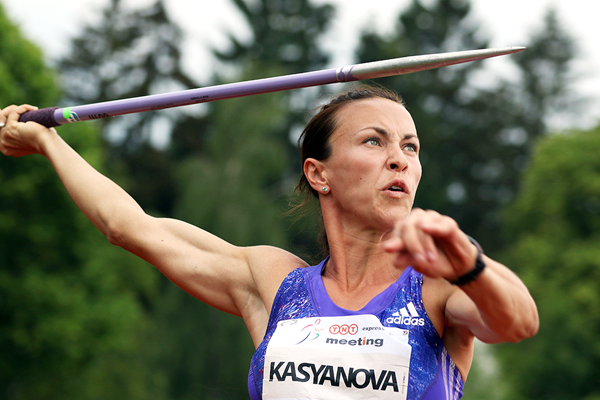 Hanna Kasyanova in the heptathlon javelin at the TNT Express meeting in Kladno (Jan Kucharcik)