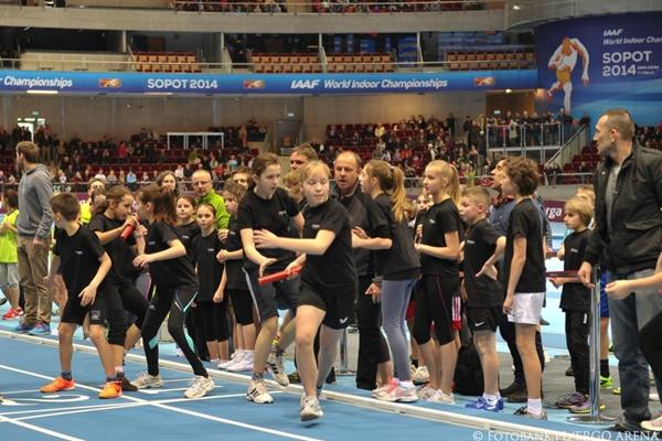 A children's relay race at the official opening of the ERGO Arena in Sopot (Organisers)