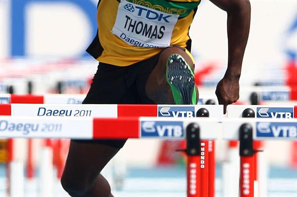 Dwight Thomas of Jamaica competes in the men's 110 metres hurdles heats during day two - WCH Daegu  (Getty Images)
