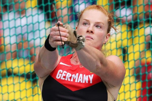Germany's Betty Heidler in the hammer at the IAAF World Championships (Getty Images)
