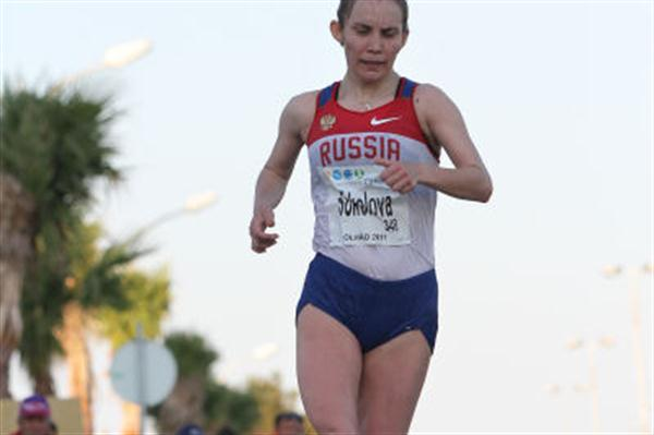 Vera Sokolova en route to her dominant performance at the European Cup of Race Walking in Olhão (Marcelino Almeida)