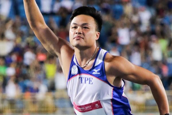 Chao-Tsun Cheng after his Asian record throw at the World University Games in Taipei City (organisers)