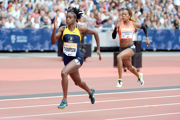 Elaine Thompson at the IAAF Diamond League meeting in London (Kirby Lee)