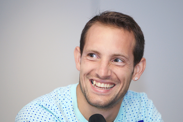 Renaud Lavillenie at the press conference for the IAAF Diamond League meeting in London (Jean-Pierre Durand)