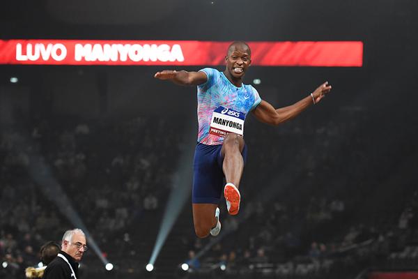 Long jump winner Luvo Manyonga at the Meeting Paris Indoor (KMSP)